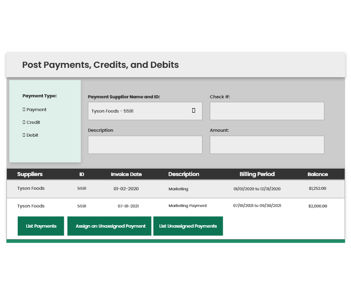Post Payments, Credits, and Debits